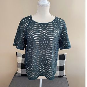 NWT Ann Taylor Green Lace Top Size Large